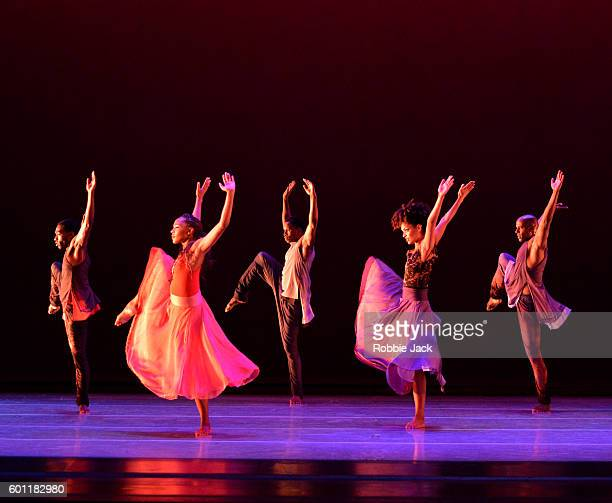 Artists of the Company in Alvin Ailey American Dance Theatre's production of Ronald K Brown's Open Door at Sadler's Wells Theatre on September 7 2016...