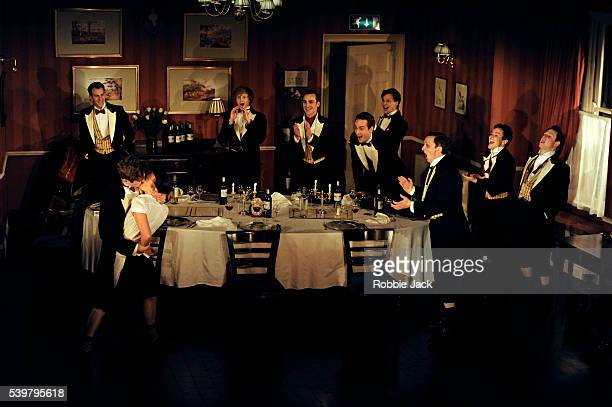 Artists of the company in Laura Wade's Posh directed by Lyndsey Turner at the Duke of York's Theatre in London
