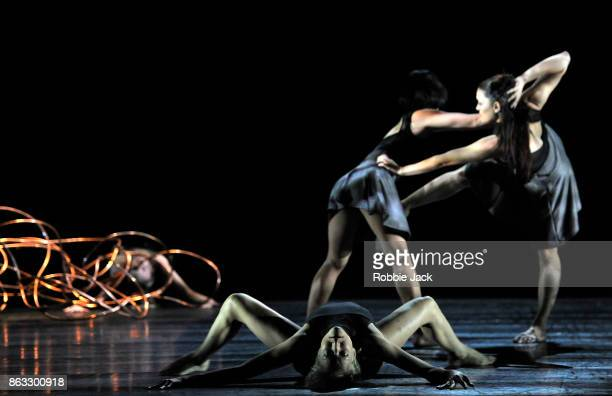 Artists of the company in Shobana Jeyasingh's Bayadere The Ninth Life at Sadler's Wells Theatre on October 17 2017 in London England