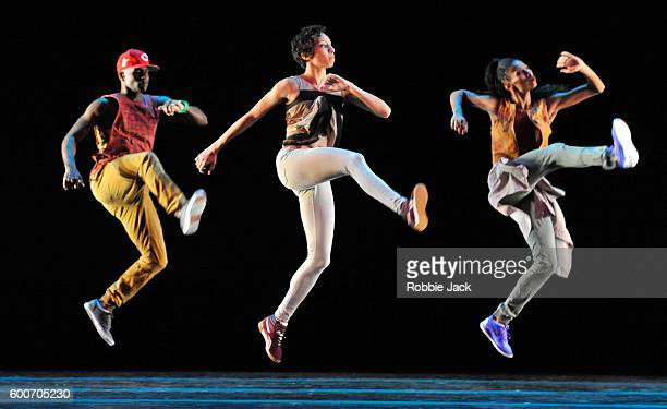 Artists of the company in the Alvin Ailey American Dance Theatre's production of Rennie Harris's Exodus at Sadlers Wells Theatre on September 6 2016...