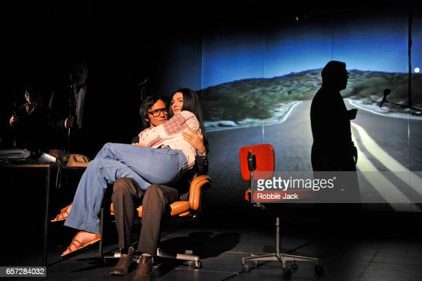 Artists of the company in The Kid Stays In The Picture directed by Simon McBurney at The Royal Court Theatre on March 14 2017 in London United Kingdom