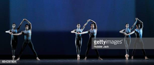 Artists of the company in the Royal Ballet's production of Christopher Wheeldon's After The Rain at the Royal Opera House on March 14 2017 in London...