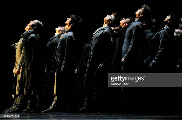 Artists of the company in the Royal Ballet's production of Crystal Pite's Flight Pattern at the Royal Opera House on March 14 2017 in London United...