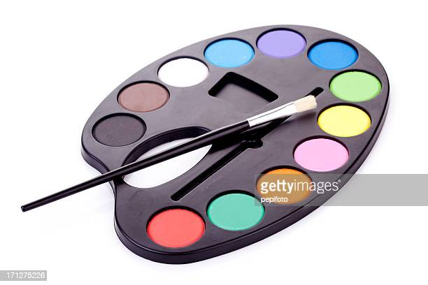 Artist's palette with multiple colors