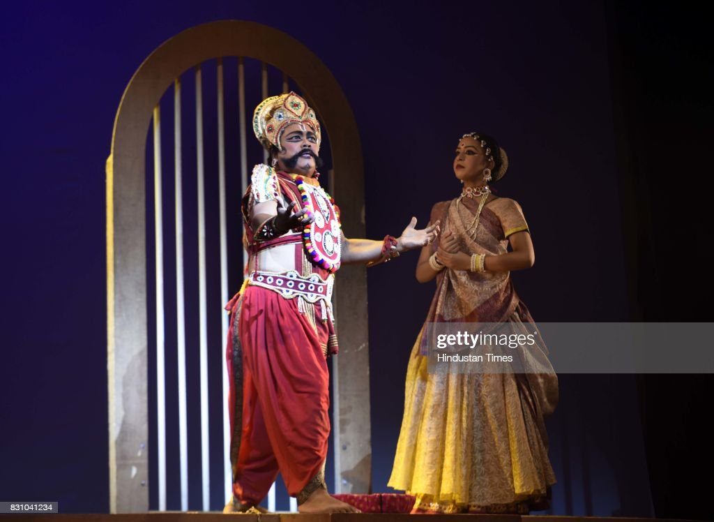 Artists perform a dance drama depicting life of Lord Krishna from his birth to his emancipation, organised by Shriram Bhartiya Kala Kendra at Kamani auditorium, on August 11, 2017 in New Delhi, India.