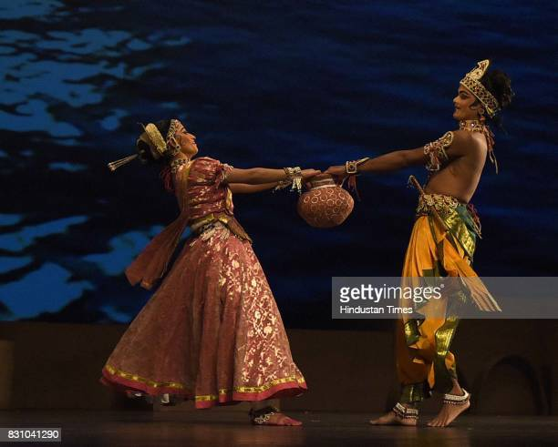 Artists perform a dance drama depicting life of Lord Krishna from his birth to his emancipation organised by Shriram Bhartiya Kala Kendra at Kamani...