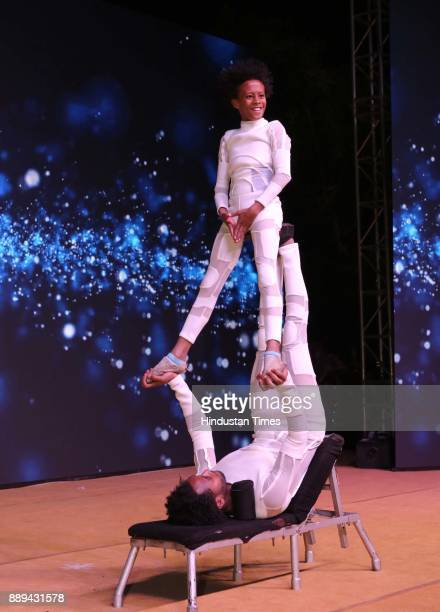 Artists perform during a Gala evening showcasing fusion of Indian International Culture at Nandiya Garden Hotel ITC Maurya on December 6 2017 in New...