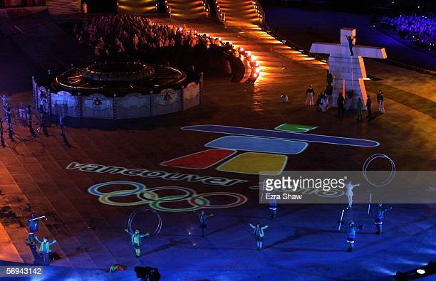 Artists perform during a segment highlighting Vancouver as the next Winter Games host during the Closing Ceremony of the Turin 2006 Winter Olympic...