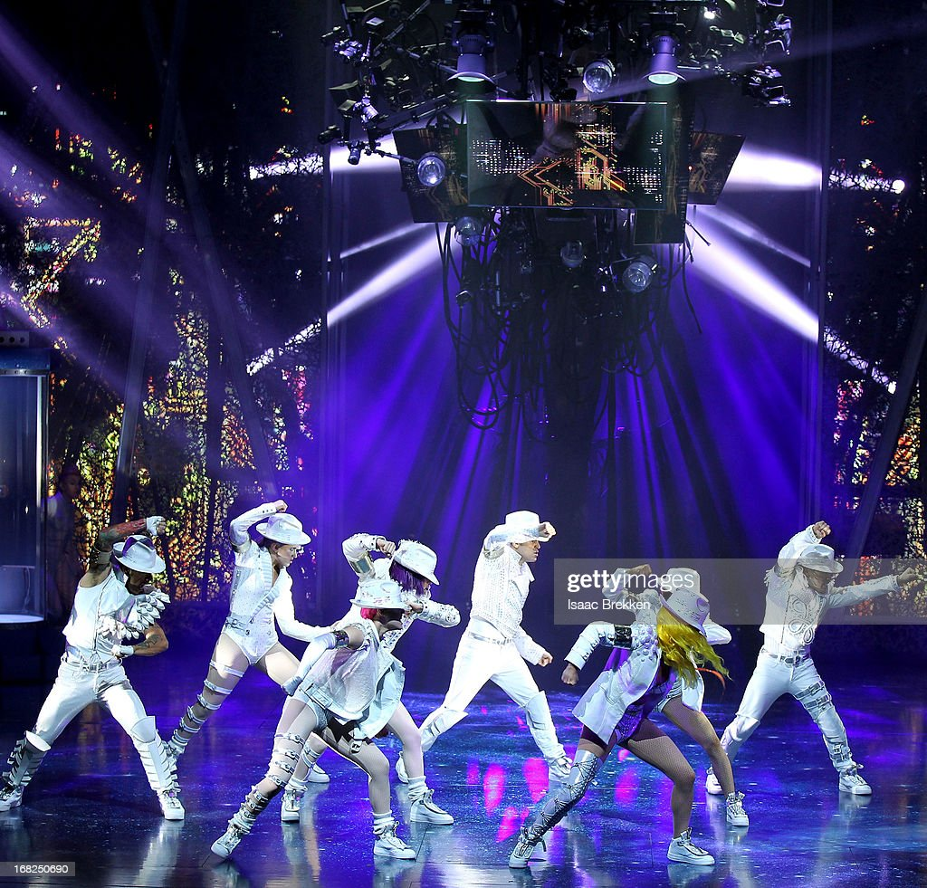 Artists perform during a sneak peek of 'Michael Jackson ONE' by Cirque du Soleil at Mandalay Bay Resort & Casino on May 7, 2013 in Las Vegas, Nevada.