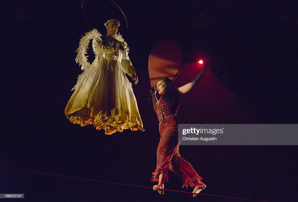 Artists perform during Corteo Cirque De Soleil' Premiere on January 9, 2013 in Hamburg, Germany.