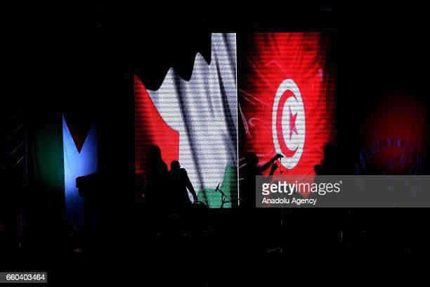 Artists perform during the 41st Palestinian Land Day at Conference Palace in Tunis Tunisia on March 30 2017