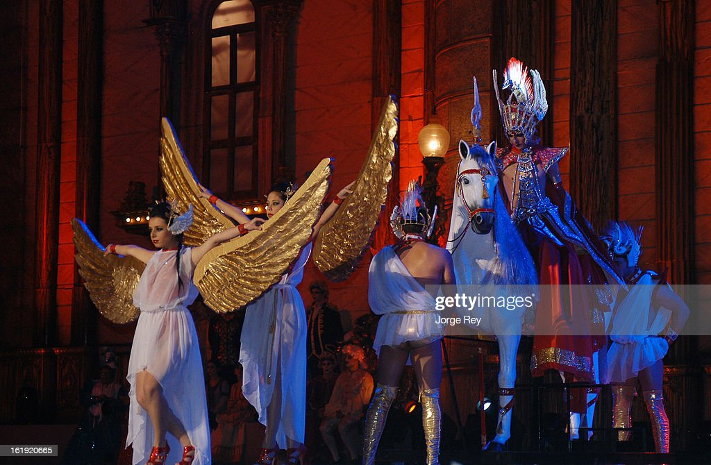 Artists perform during the Carnival Drag Queen Gala on February 14, 2013 in Las Palmas de Gran Canaria, Spain.