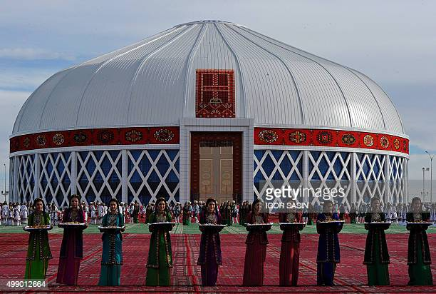 Artists perform during the ceremony for the presentation of the world's biggest yurt which was included in the Guinness Book of Records in the city...