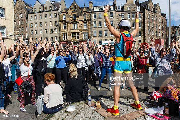 Artists perform during the Edinburgh Fringe on August 27 2016 in Edinburgh Scotland The largest performing arts festival in the world this year's...