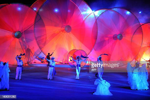 Artists perform during the opening ceremony for the 2013 Central American Games in San Jose on March 3 2013 The 10th Central American Games are...