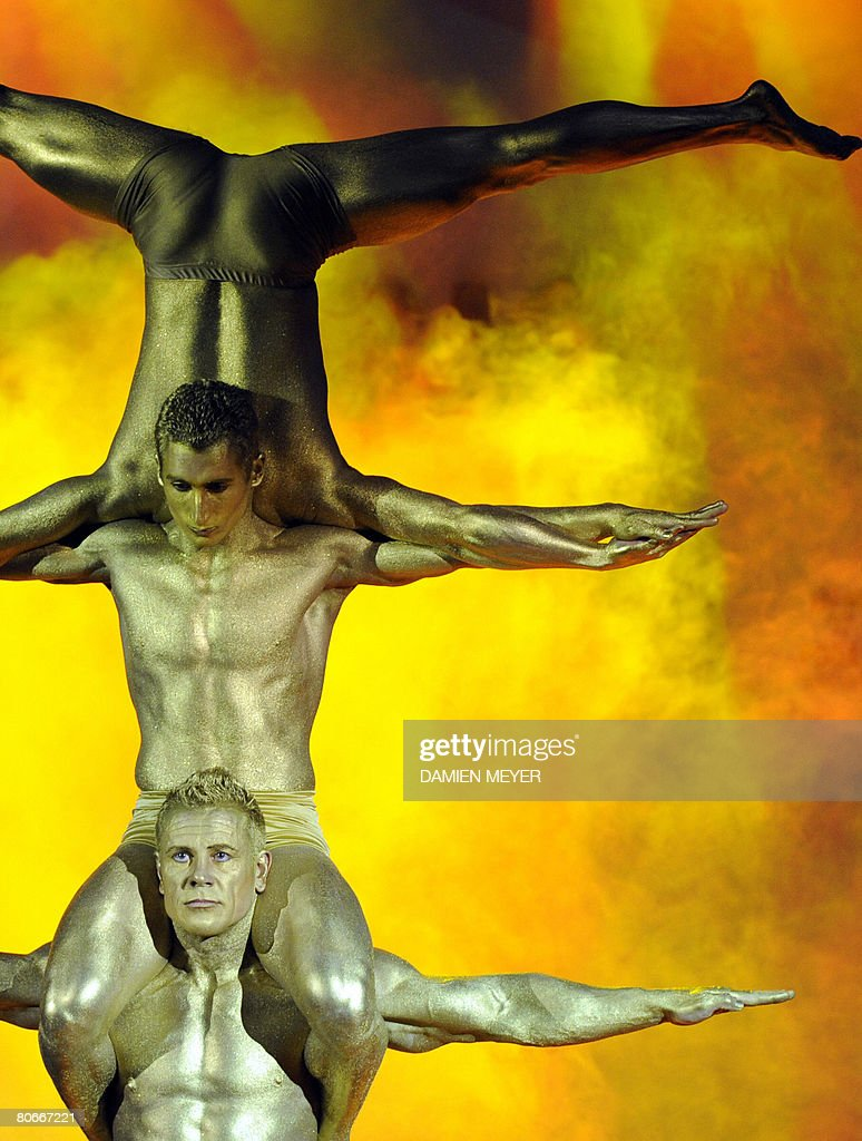 Artists perform during the opening ceremony of the 2008 european weightlifting championships in Lignano Sabbiadoro on April 15, 2008. The competition runs until April 20, 2008.