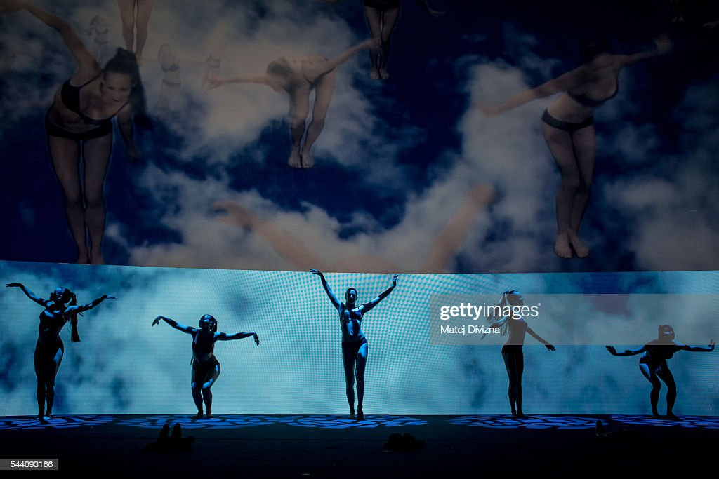 Artists perform during the opening ceremony of the 51st Karlovy Vary International Film Festival (KVIFF) on July 1, 2016 in Karlovy Vary, Czech Republic.