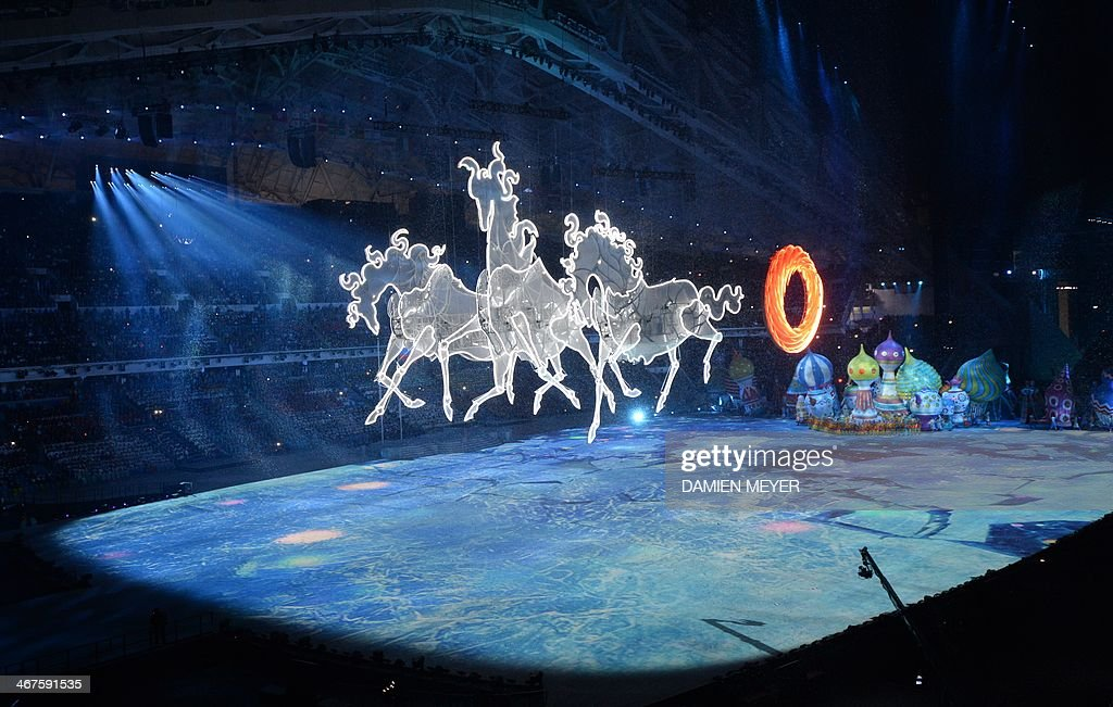 Artists perform during the Opening Ceremony of the Sochi Winter Olympics at the Fisht Olympic Stadium on February 7 2014 in Sochi AFP PHOTO / DAMIEN...