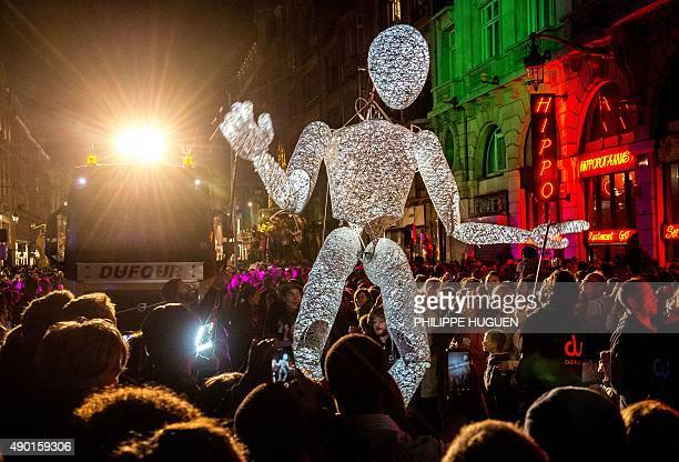 Artists perform during the parade of the Lille 3000 event on September 26 2015 in Lille This year's event with the theme Renaissance will run from...