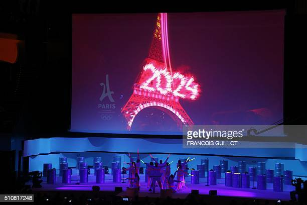 Artists perform on February 17 during the official presentation of Paris as candidate for the 2024 Olympic summer games in Paris The race to host the...