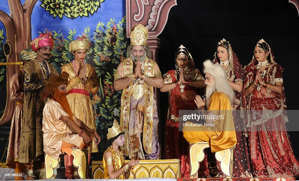 Artists perform play during Ramlila at Shri Dharmika Lila Committee at Subhash Maiden on September 27 2014 in New Delhi India Ramlila is a dramatic...