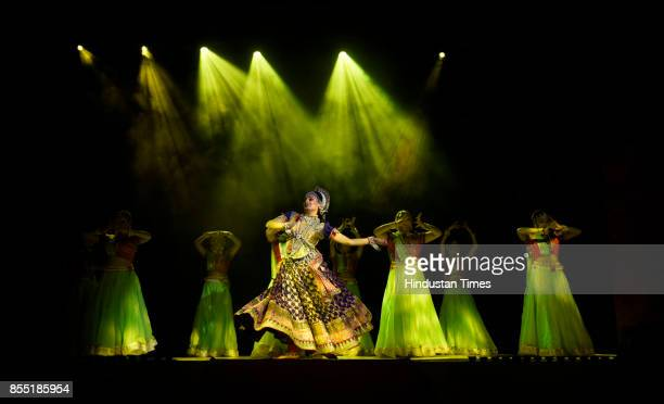 Artists perform the traditional 'Ramlila' drama narrating the life of deity Rama on stage during the celebration to mark 'Dussehra' Festival at Shri...
