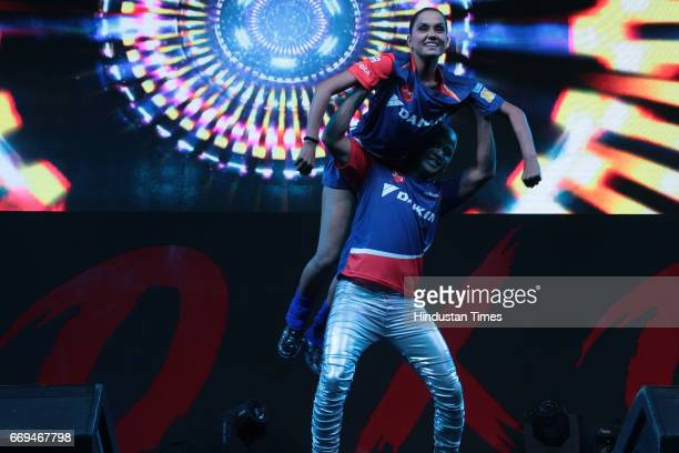 Artists performing at a party hosted by Daikin to celebrate the three years of togetherness with Delhi Daredevils team at Hotel Pullman Aerocity on...