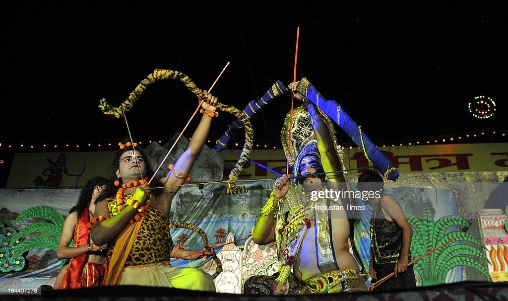 Artists performing during Dussehra celebrations in Ramlila ground on October 13 2013 in Noida India Dussehra commemorates the triumph of Lord Rama...