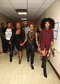 Artists Queen Latifah YoYo MC Lyte and Brandy pose backstage at the BET Hip Hop Awards 2014 at Boisfeuillet Jones Atlanta Civic Center on September...