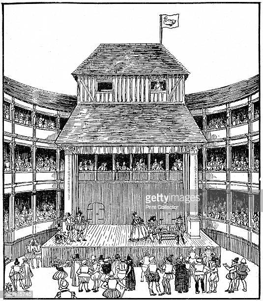 Artist's reconstruction of a Theatre or Playhouse in the time of Elizabeth I mid to late 16th century
