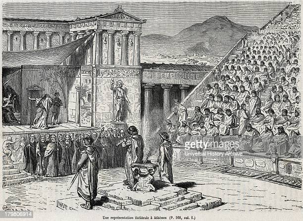 Artist's reconstruction of a theatrical performance in Ancient Greece Chorus in front below raised stage Engraved 1878