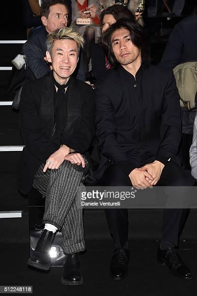 Artists Shinsuke Kawahara and Tsuchida Yasuhiko attend the Anteprima show during Milan Fashion Week Fall/Winter 2016/17 on February 25 2016 in Milan...