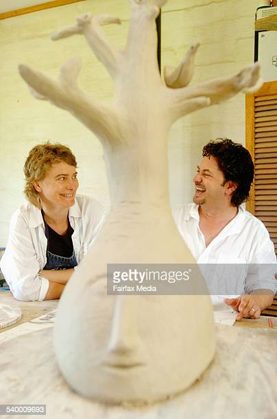 Artists Stephen Fearnley and Celeste Coucke at home on their farm near Robertson in the Southern Highlands The couple moved there from Bondi six...