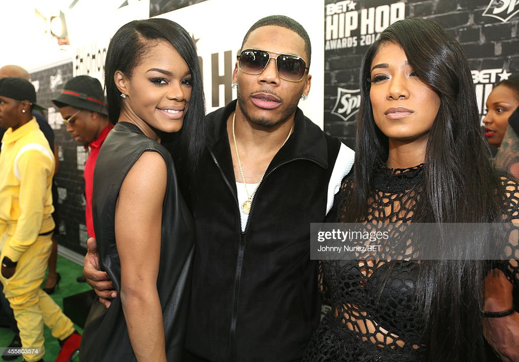 Artists Teyana Taylor Nelly and Mila J attend the BET Hip Hop Awards 2014 presented by Sprite at Boisfeuillet Jones Atlanta Civic Center on September...