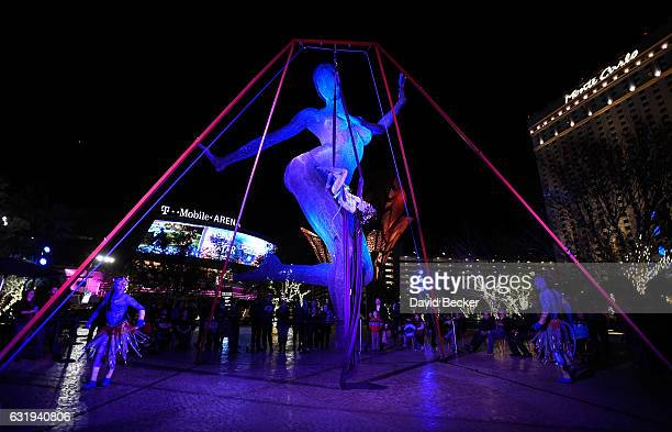 Artists Viktor Franyo Giulia Piolanti and Danny Luftman from Cirque du Soleil's touring show 'TORUK The First Flight' perform during a special...