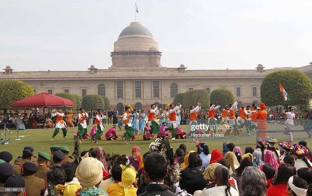 Artists, who participated in the Republic Day Parade-2013, performs during a meeting with President Pranab Mukherjee at Rashtrapati Bhavan on January 27, 2013 in New Delhi, India.