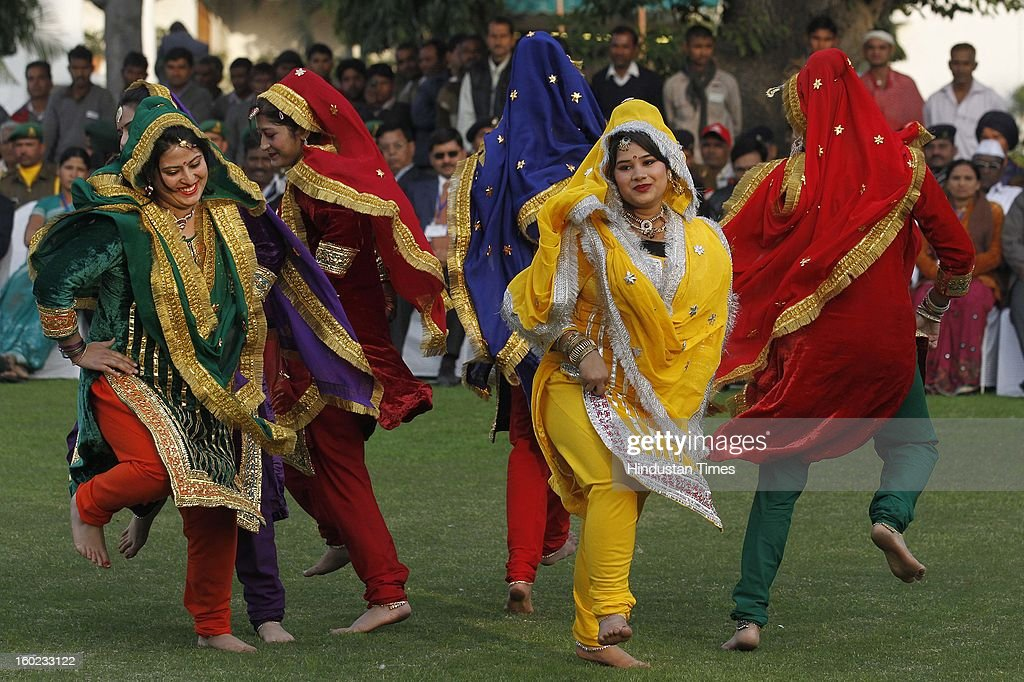Artists, who participated in the Republic Day Parade-2013, performs during a meeting with Vice President Hamid Ansari at Vice President House, on January 28, 2013 in New Delhi, India.