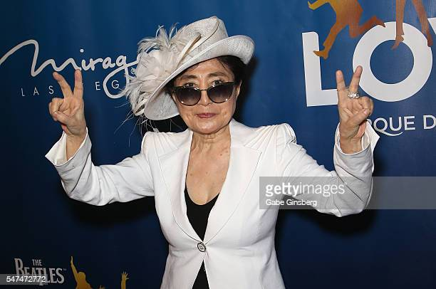 Artist/singer Yoko Ono attends the 10th anniversary celebration of 'The Beatles LOVE by Cirque du Soleil' at The Mirage Hotel Casino on July 14 2016...