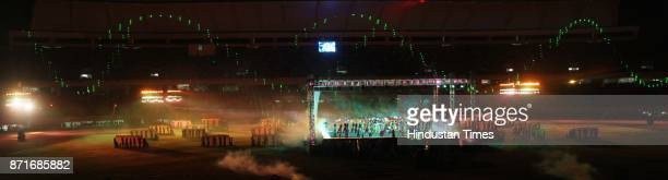 Artits performing with laser after the inagurated the 34th National Game at Birsa Munda Athletic stadium Hotwar in Ranchi