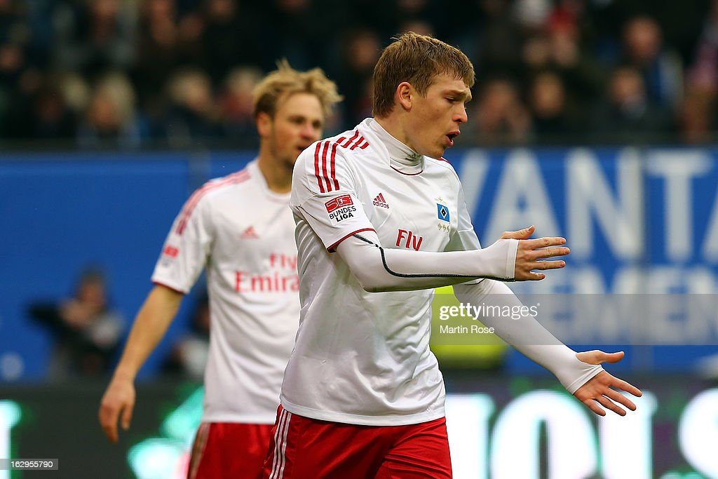 Artjoms (r) of Hamburger SV reacts during the Bundesliga match between Hamburger SV and Greuther Fuerth at Imtech Arena on March 2, 2013 in Hamburg, Germany.