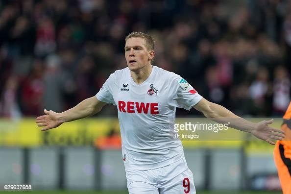 Artjoms Rudnevs of Cologne celebrates after scoring during the Bundesliga match between 1 FC Cologne and Borussia Dortmund at the RheinEnergie...