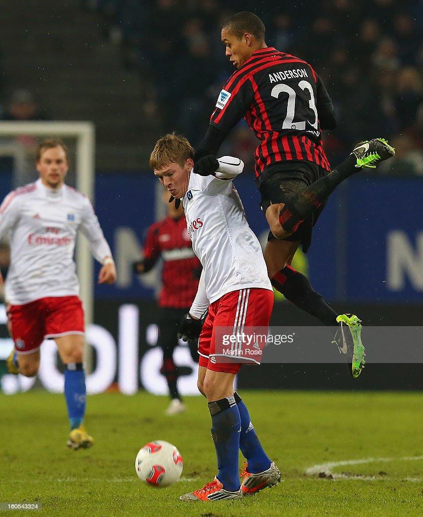 Artjoms Rudnevs (L) of Hamburg and Aderson (R) of Frankfurt battle for the ball during the Bundesliga match between Hamburger SV and Eintracht Frankfurt at Imtech Arena on February 2, 2013 in Hamburg, Germany.