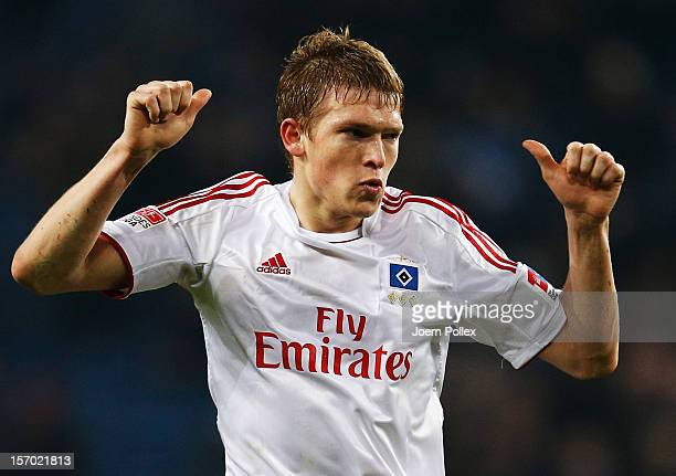 Artjoms Rudnevs of Hamburg celebrates after scoring his team's second goal during the Bundesliga match of Hamburger SV and FC Schalke 04 at Imtech...