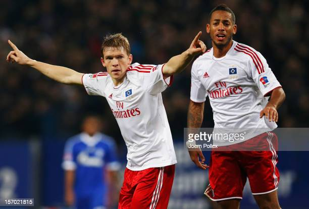 Artjoms Rudnevs of Hamburg celebrates after scoring his team's second goal during the Bundesliga match of Hamburger SV and FC Schalke 04 at Imtech...