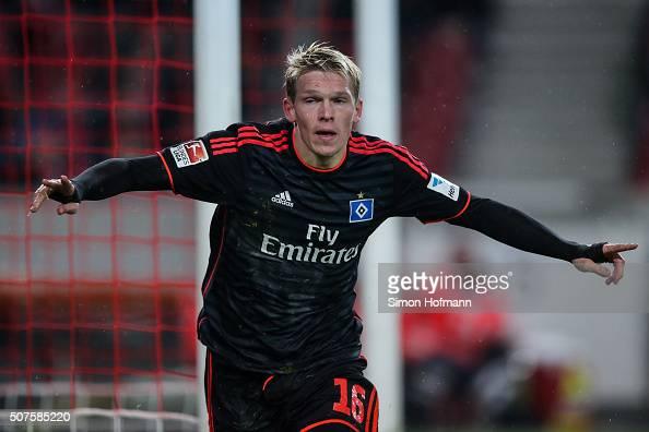 Artjoms Rudnevs of Hamburg celebrates his team's first goal during the Bundesliga match between VfB Stuttgart and Hamburger SV at MercedesBenz Arena...