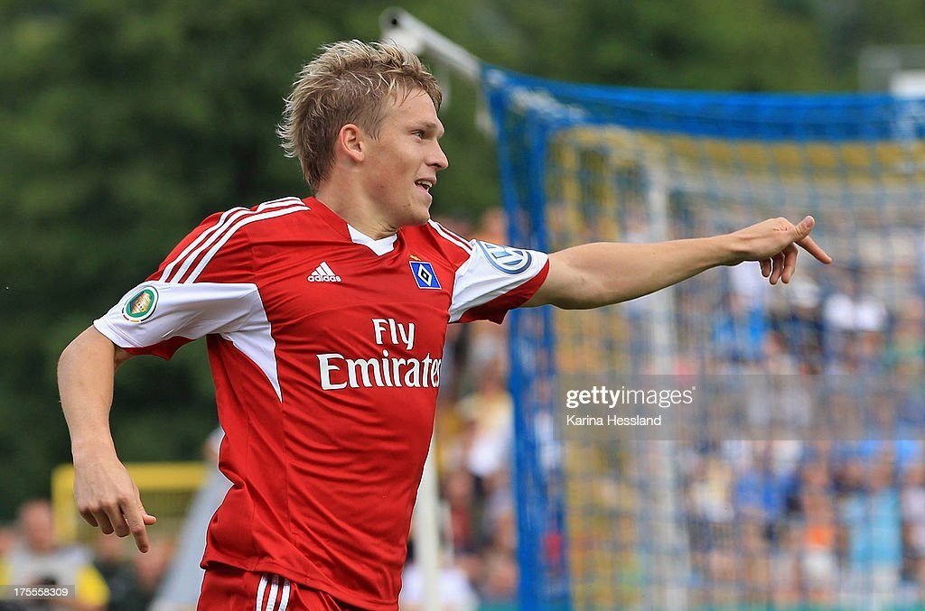 Artjoms Rudnevs of Hamburg celebrates the opening goal during the DFB Cup between SV Schott Jena and Hamburger SV at Ernst-Abbe-Sportfeld on August 04, 2013 in Jena,Germany.