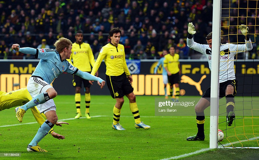 Artjoms Rudnevs of Hamburg heads his teams third goal during the Bundesliga match between Borussia Dortmund and Hamburger SV at Signal Iduna Park on February 9, 2013 in Dortmund, Germany.