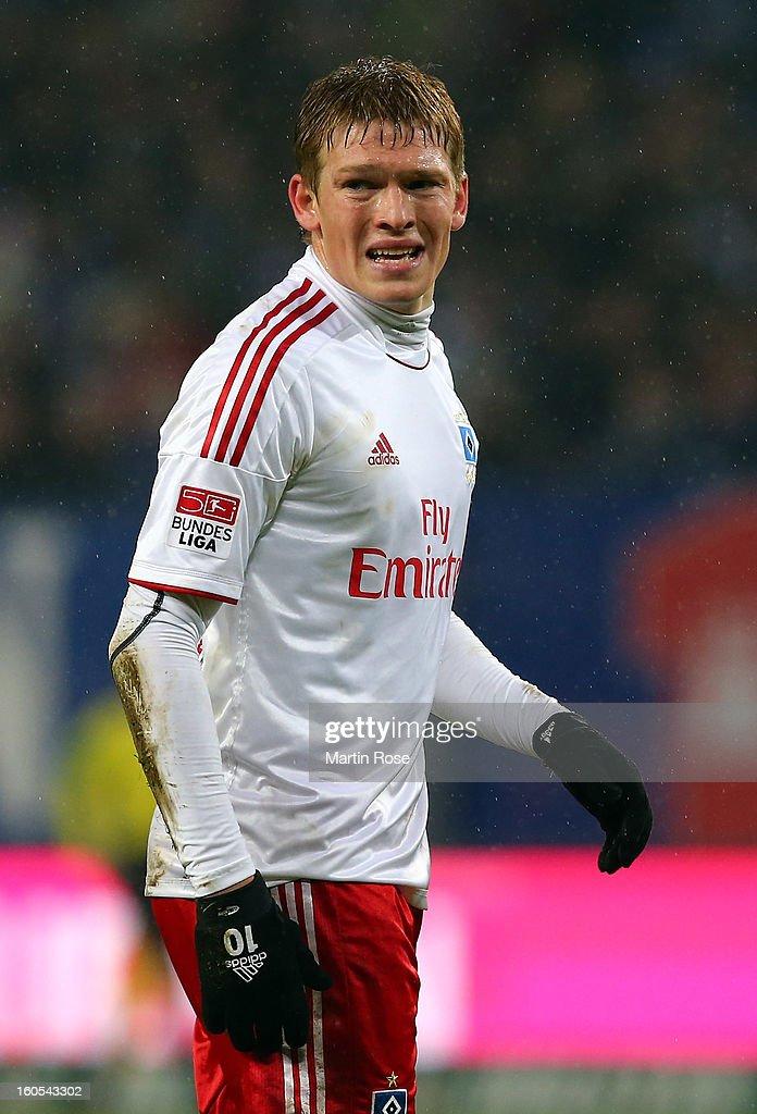 Artjoms Rudnevs of Hamburg reacts during the Bundesliga match between Hamburger SV and Eintracht Frankfurt at Imtech Arena on February 2, 2013 in Hamburg, Germany.