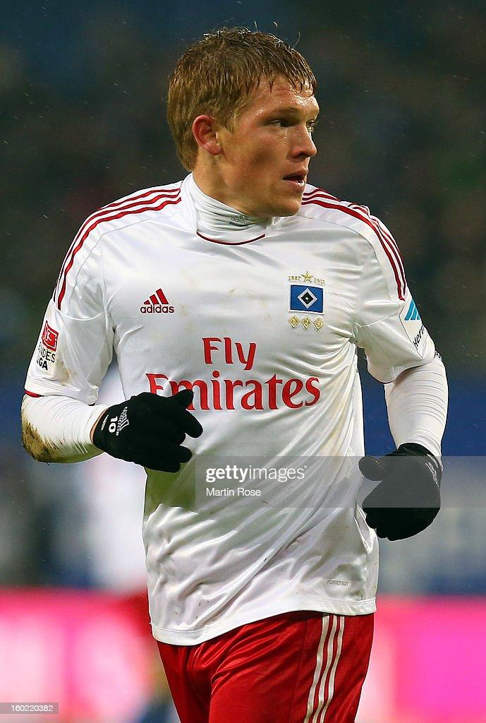 Artjoms Rudnevs of Hamburg runs during the Bundesliga match between Hamburger SV and SV Werder Bremen at Imtech Arena on January 27, 2013 in Hamburg, Germany.