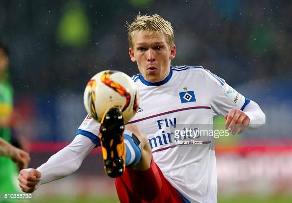 Artjoms Rudnevs of Hamburg runs with the ball during the Bundesliga match between Hamburger SV and Borussia Moenchengladbach at Volksparkstadion on...